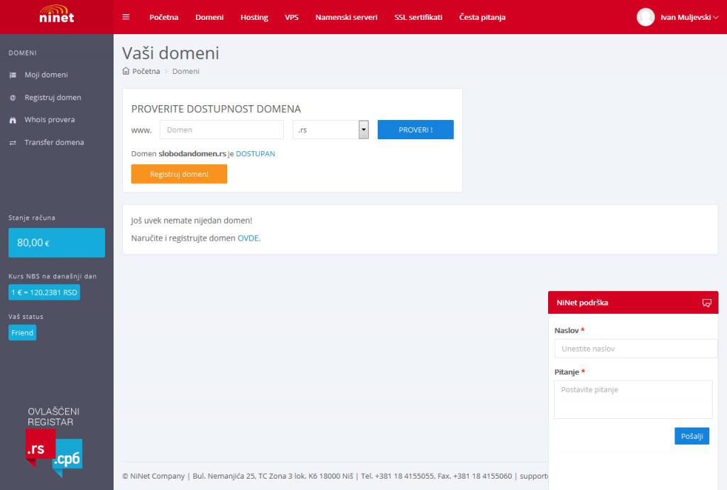 hosting pilot domeni